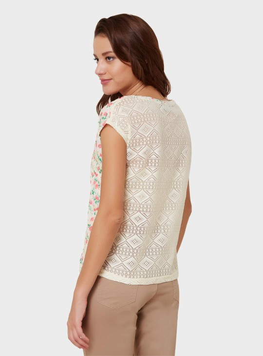 MAX Floral Print Sheer Back Top
