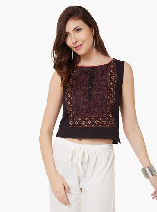 MAX Printed Sleeveless Cotton Top