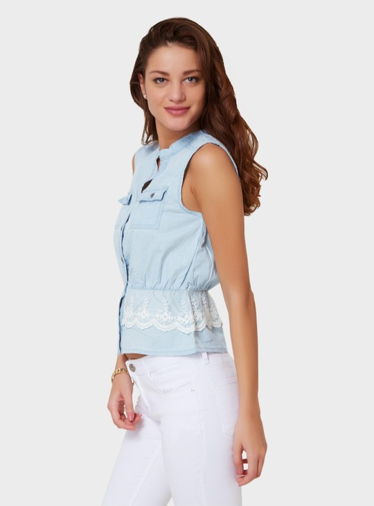 MAX Lacy Peplum Denim Finish Blouse