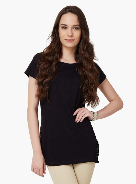 MAX Solid Lace Trim Top