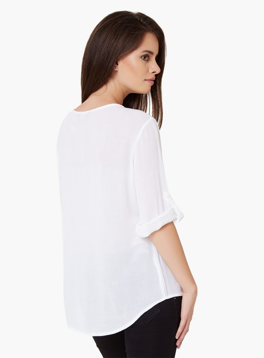 MAX Embroidered Tie-Up Neck Blouse