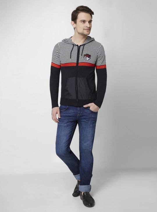 MAX Striped Front Zip Hooded Sweatshirt