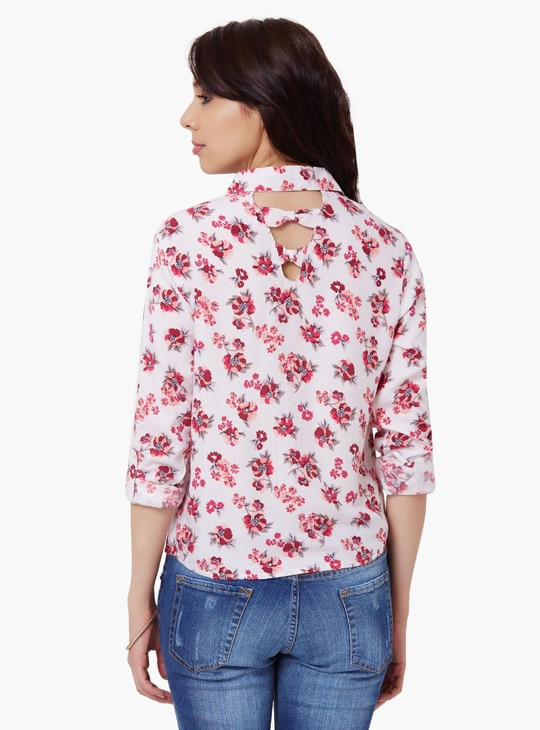 MAX Floral Print Roll-Up Sleeves Shirt