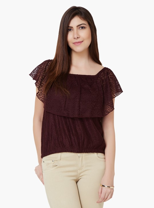 MAX Lace Overlay Elasticated Waist Top