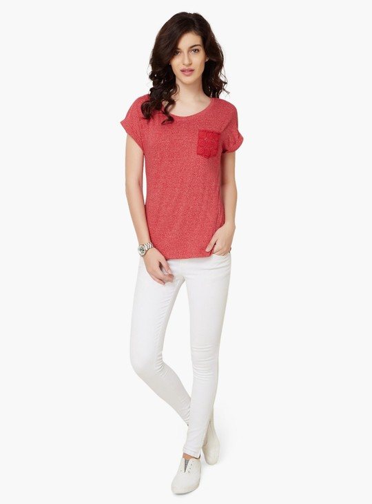 MAX Lacy Patch Pocket Round Neck Top