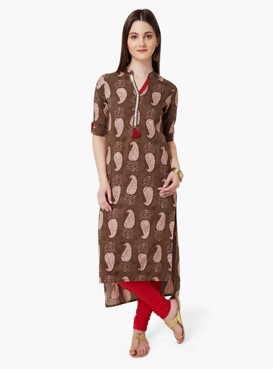 MAX Paisley Print High-Low Hem Kurta