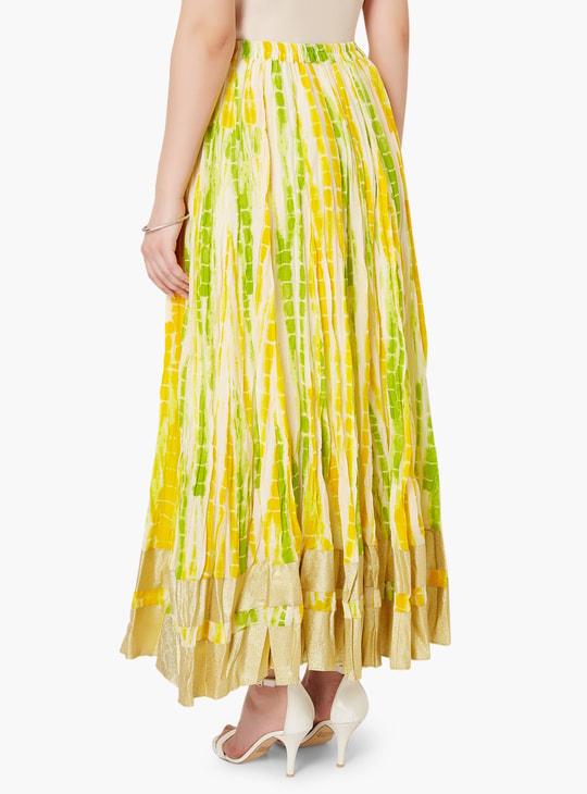 MAX Metallic Border Tie-Dye Maxi Skirt