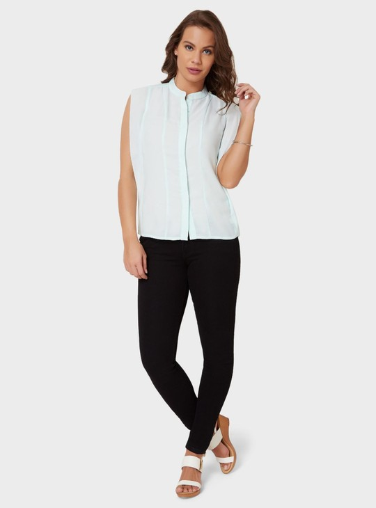 MAX Band Collar Concealed Placket Shirt