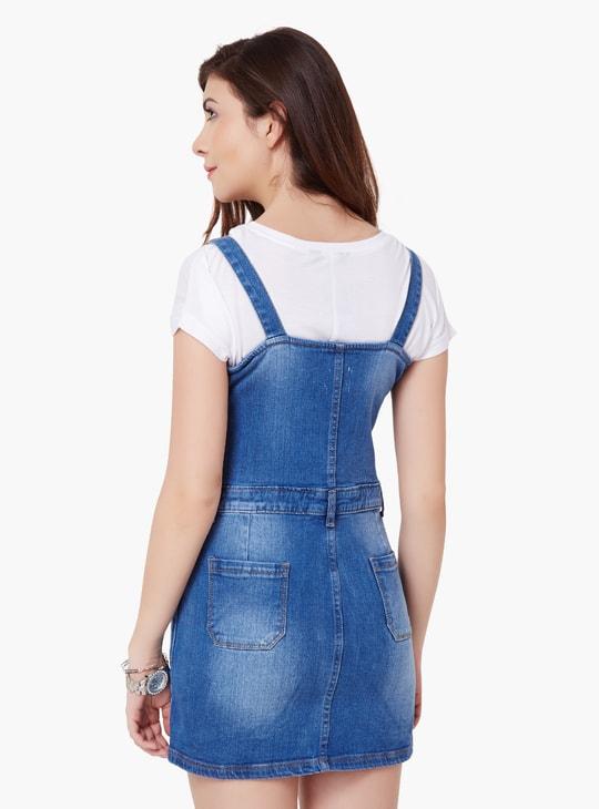 MAX Button-Up Denim Pinafore Dress