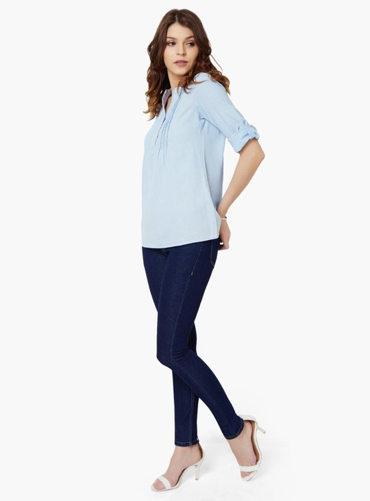 MAX Band Collar Roll-Up Sleeves Blouse