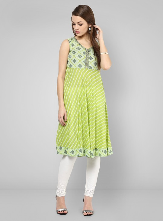 MAX Printed Flared Sleeveless Kurti