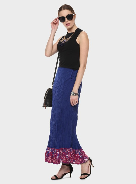 MAX Printed Panelled Maxi Crushed Skirt