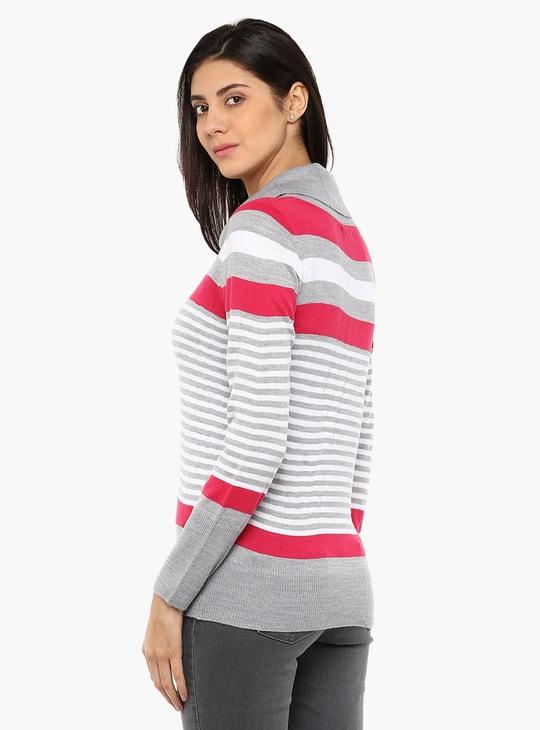 MAX Striped Cowl Neck Sweater