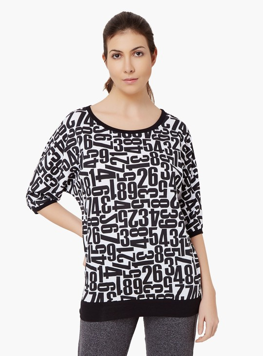 MAX Number Print Round Neck Top
