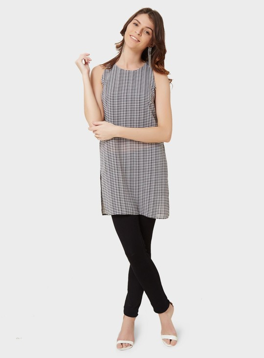 MAX Sleeveless Checked Tunic