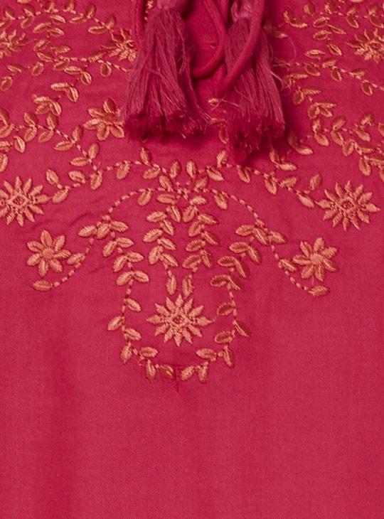 MAX Embroidered Tie-Up Neck Kurta