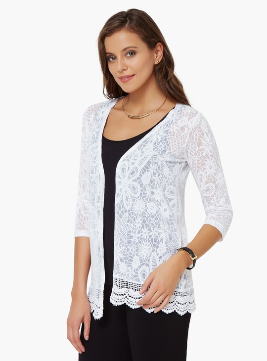 MAX Floral Bliss Lace Trim Shrug