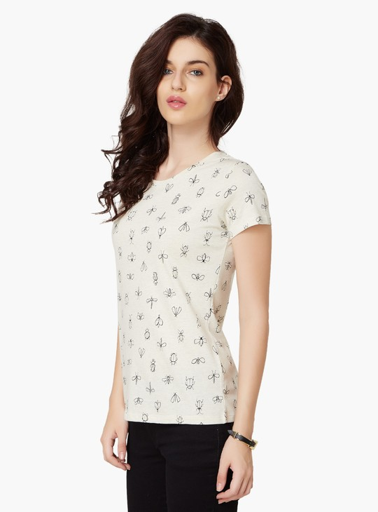 MAX Little Bugs Print Round Neck Top