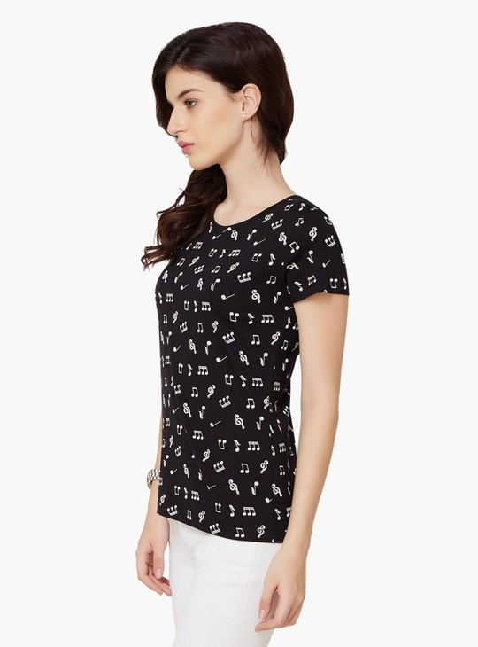 MAX Musical Print Round Neck Top