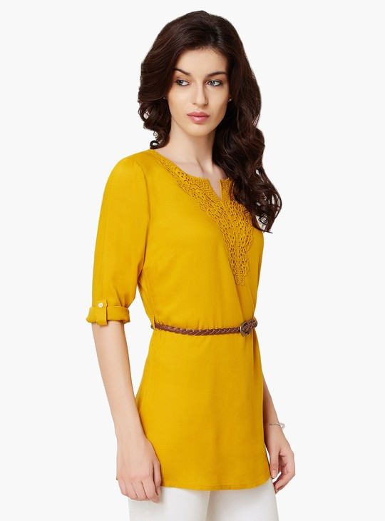 MAX Lace Overlay Belted Tunic