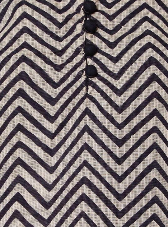 MAX Printed Embroidered Band Collar Kurta