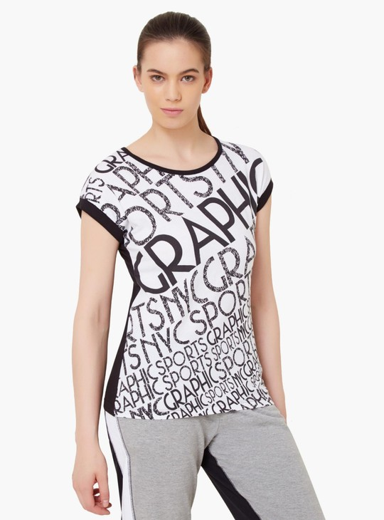 MAX Alphabet Print Round Neck Top