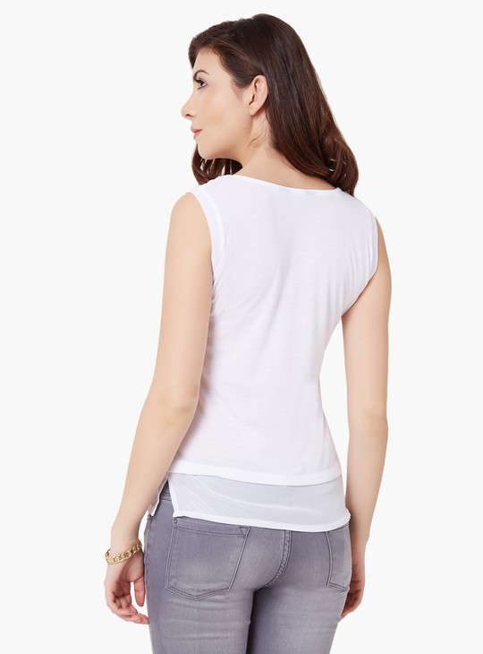 MAX Sleeveless Illusion Neck Top