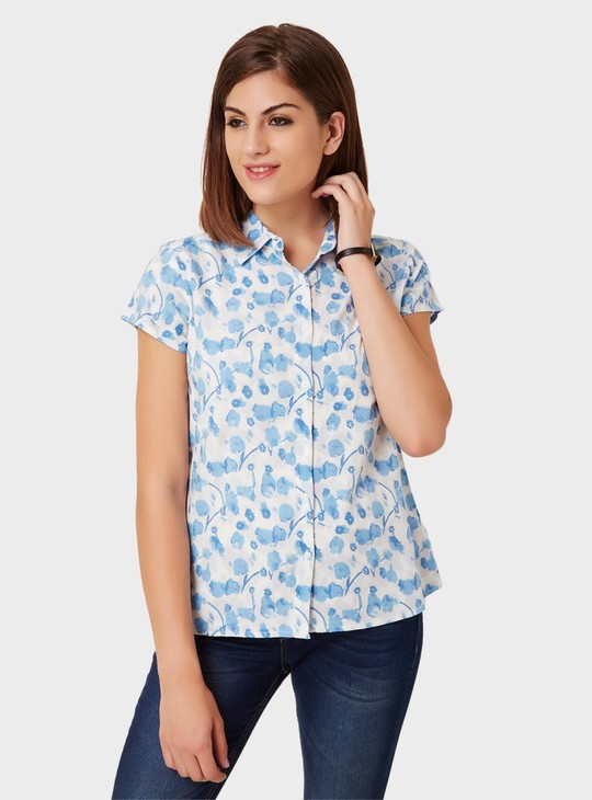 MAX Petal Print Short Sleeves Shirt