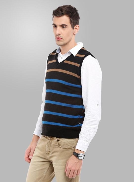 MAX Striped Sleeveless V-Neck Sweater