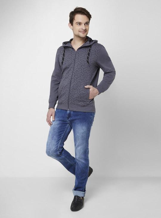 MAX Printed Front Zip Hooded Sweatshirt