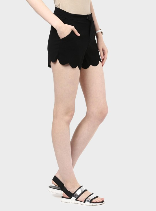 MAX Solid Scalloped Hem Shorts