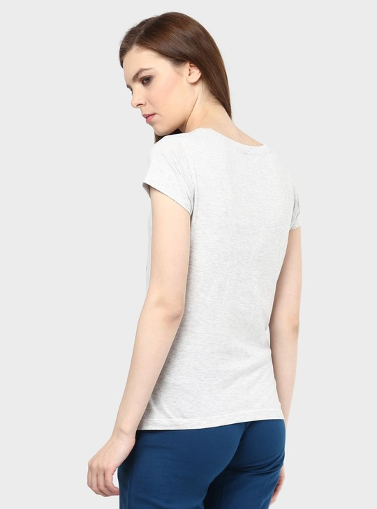 MAX Rose Imprint Round Neck T-Shirt