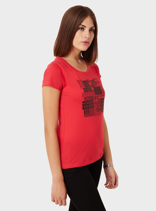 MAX Chest Imprint Round Neck Top