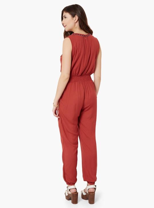 MAX Embroidered Sleeveless Jumpsuit