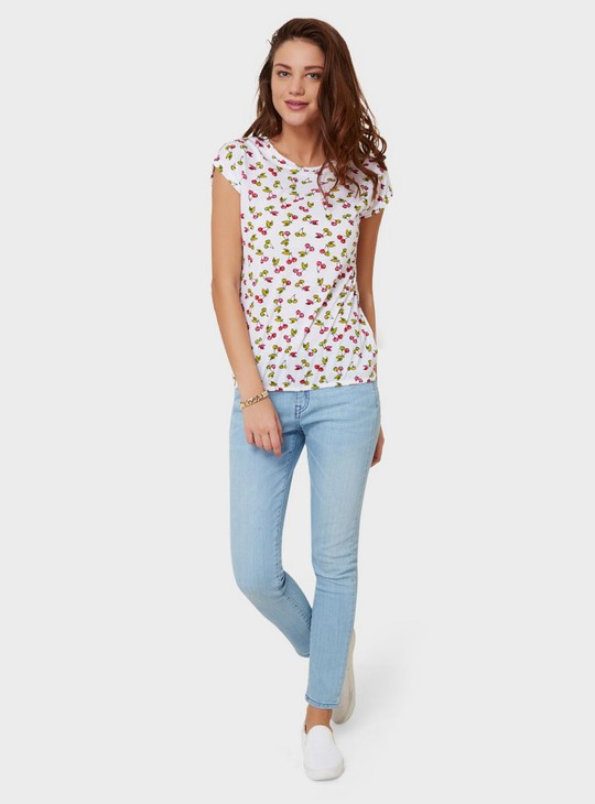MAX Cherry Print Round Neck Top
