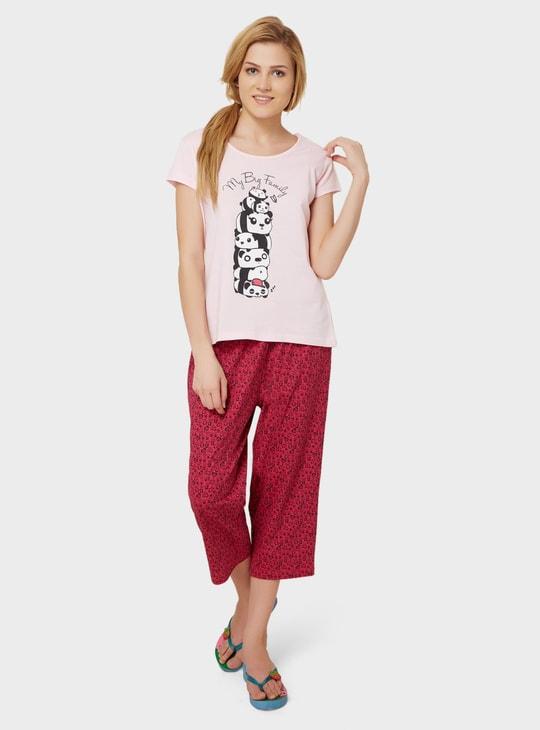 MAX Panda Imprint T-Shirt & Capri Sleep Set