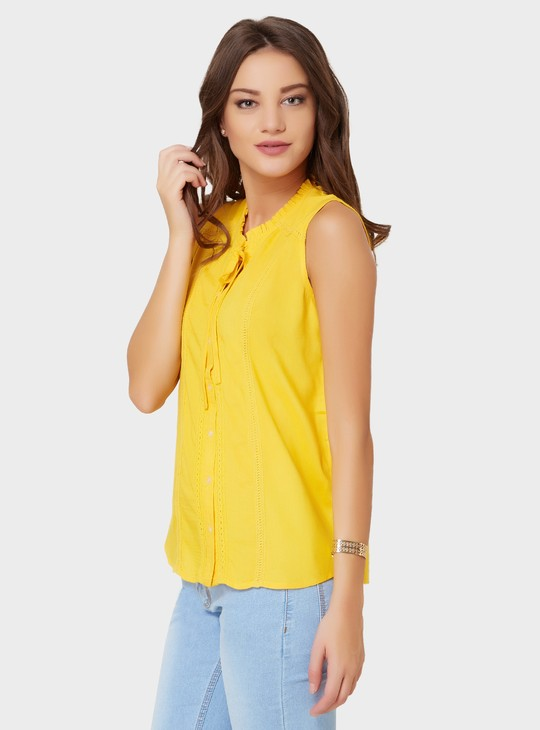 MAX Tie-Up Collar Sleeveless Blouse