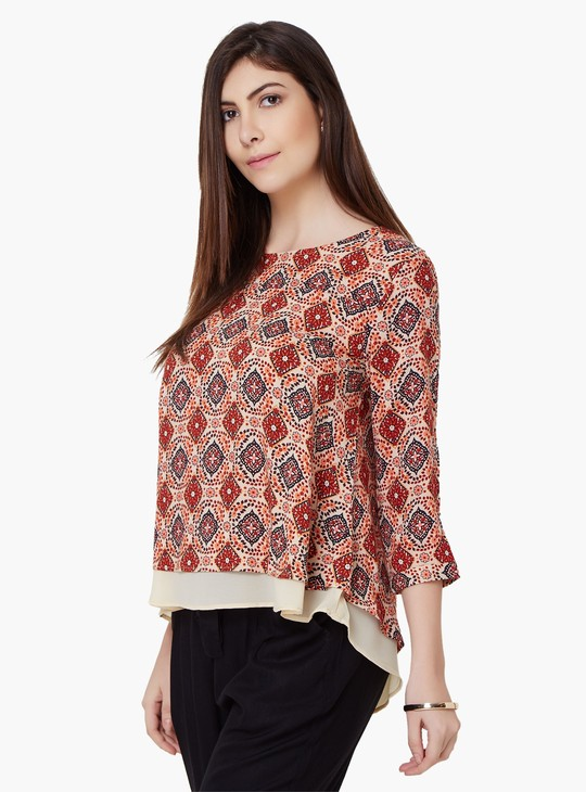 MAX Printed Round Neck Blouse