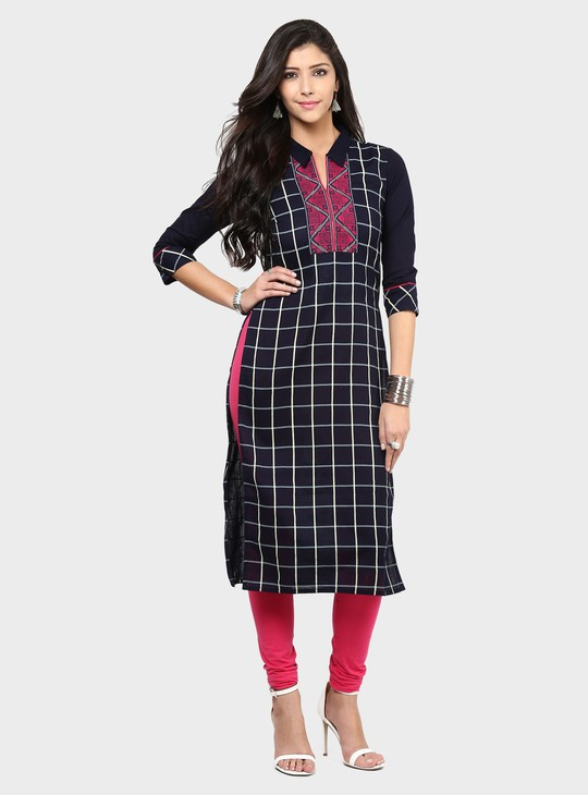 MAX Windowpane Check Embroidered Kurta