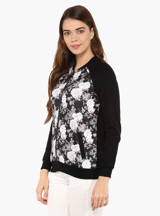 MAX Floral Print Zip-Up Jacket