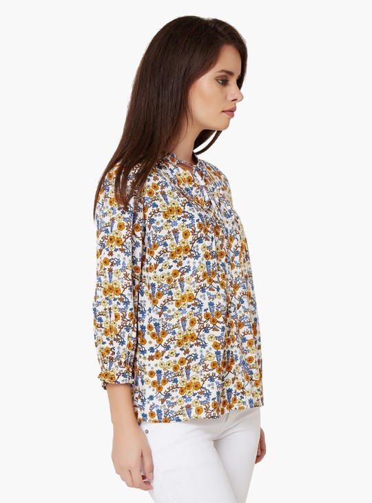 MAX Printed Tie-Up Neck Blouse