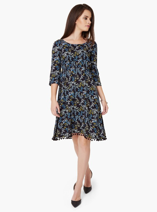 MAX Printed Pom-Pom Trim Dress