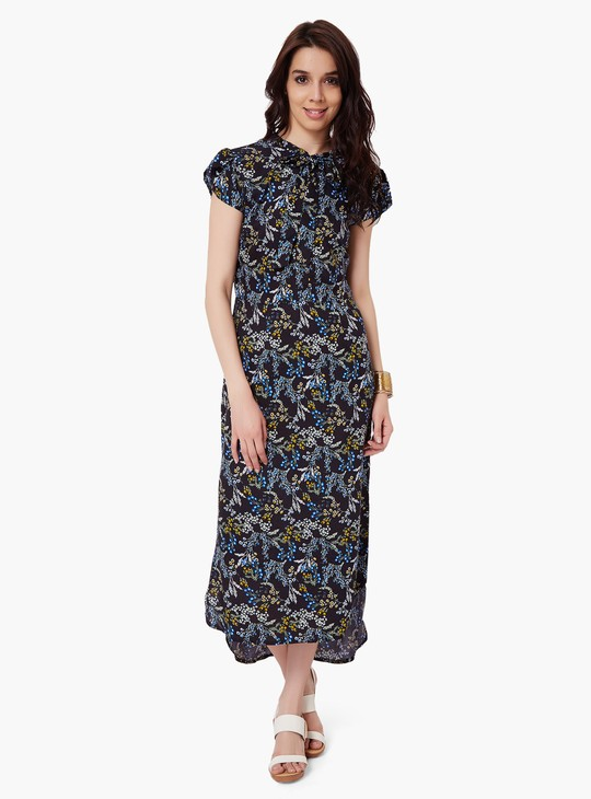 MAX Printed Tie-Up Neck Maxi Dress
