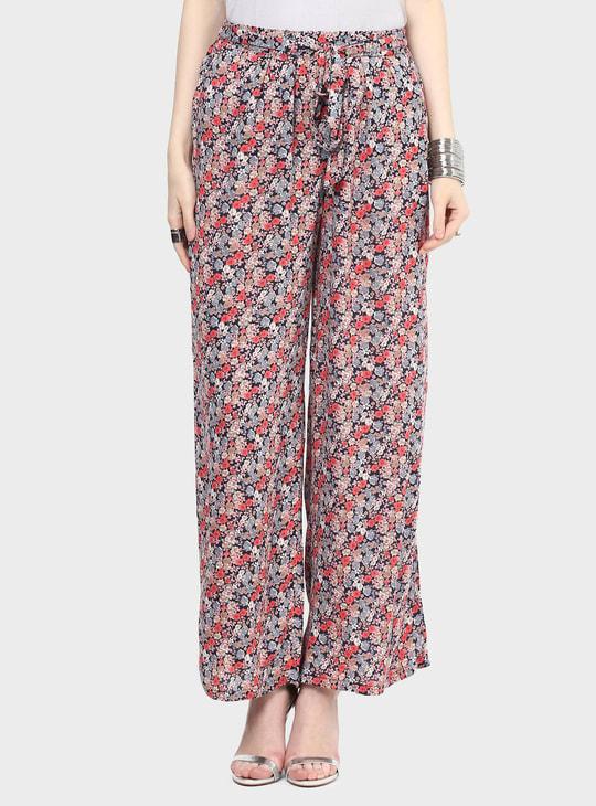 MAX Floral Print Waist Tie-Up Pants