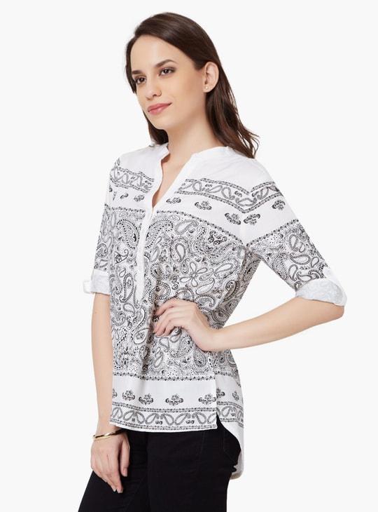 MAX Paisley Print Roll-Up Sleeves Tunic