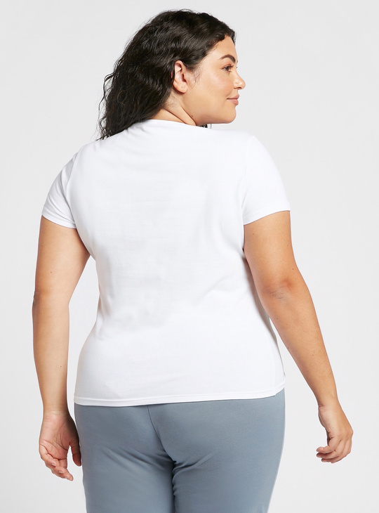 Solid V-neck T-shirt with Cap Sleeves