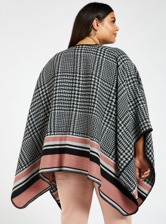 Chequered Cape Jacket with Contrast Border and 3/4 Sleeves