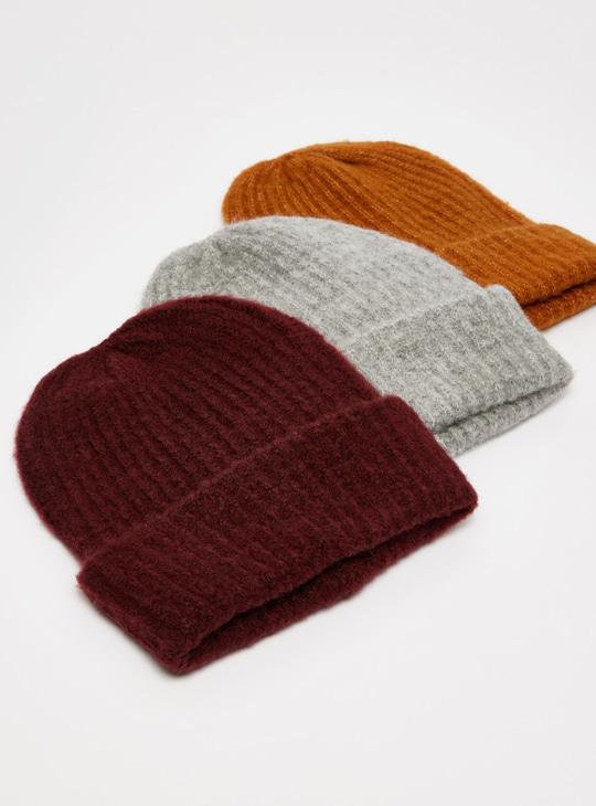 Set of 3 - Textured Beanie Cap with Cuffed Hem