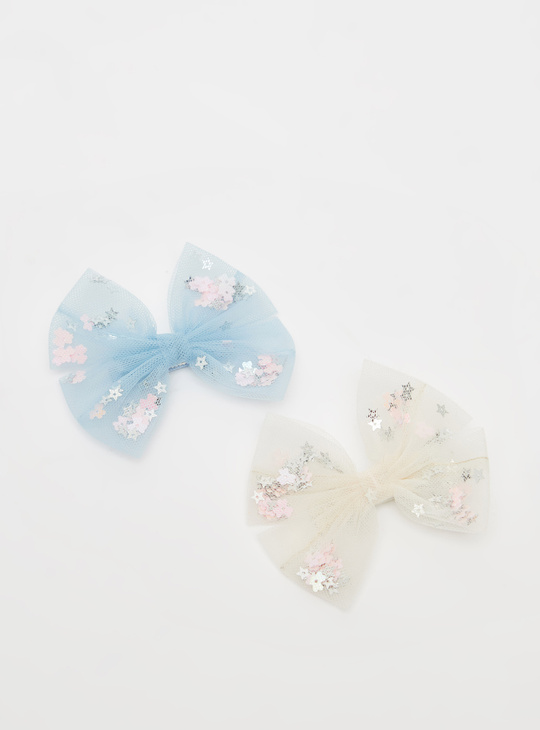 Pack of 2 - Embellished Bow Applique Hair Clips