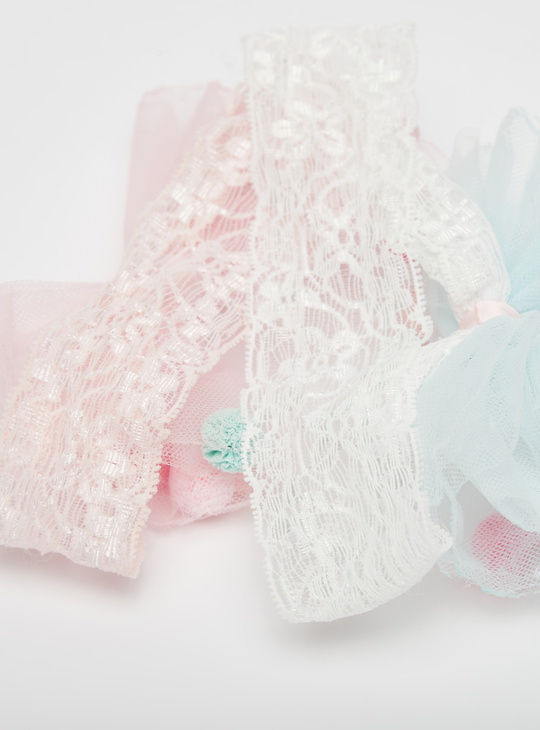 Set of 2 - Lace Detail Hairband with Bow Applique